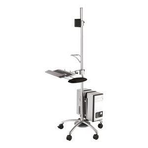 NewStar Mobile Work Station Floor Stand FPMA-MOBILE1800 – Carrello Per Schermo LCD / Tastiera / Mouse / CPU – Lega Di Alluminio – Argento – Dimensione Schermo: 10″-21″ [ TT191538 ]