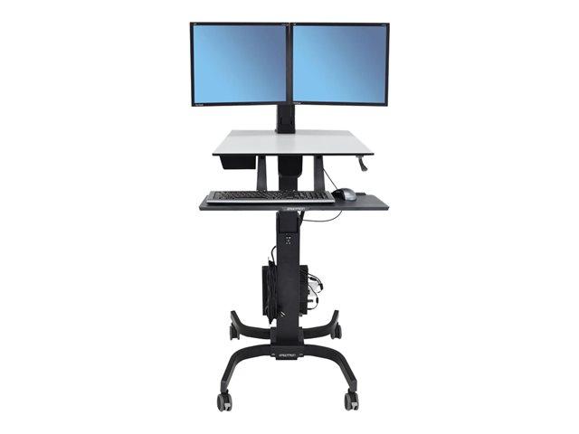 Ergotron WorkFit-C Dual Sit-Stand Workstation – Carrello per 2 schermi LCD / tastiera / mouse / CPU – grigio, nero – dimensione schermo: 22″ [ TT191261 ]
