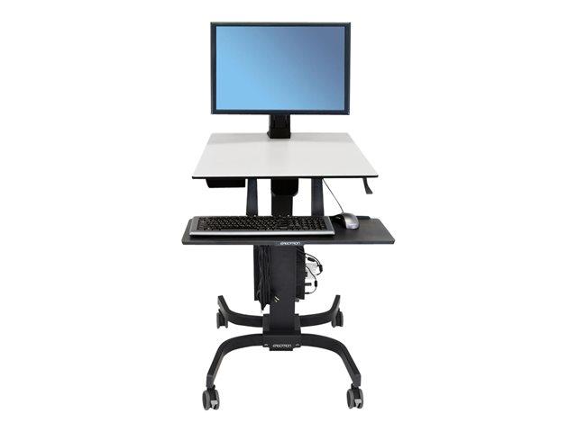 Ergotron WORKFIT-C, Sit-Stand Workstation per Single Large Display, HD, con Mobile Cart Base (nero/grigio) [ TT47839 ]