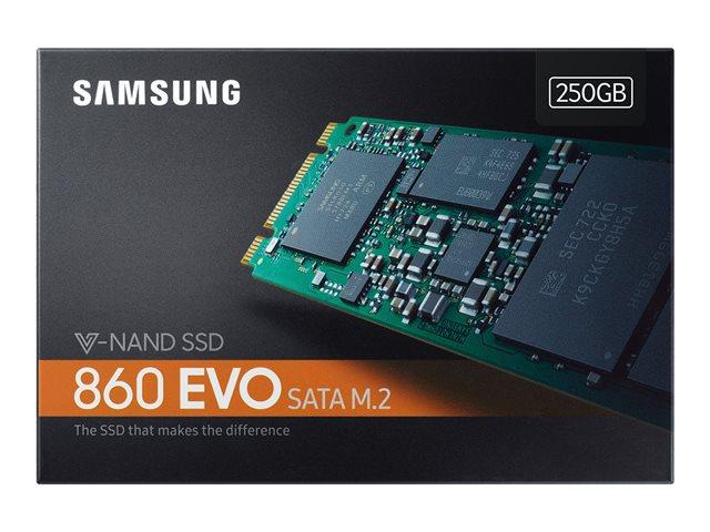 Samsung 860 EVO MZ-N6E250BW – SSD – crittografato – 250 GB – interno – M.2 2280 – SATA 6Gb/s – buffer: 512 MB – 256 bit AES – TCG Opal Encryption 2.0 [ TT690649 ]