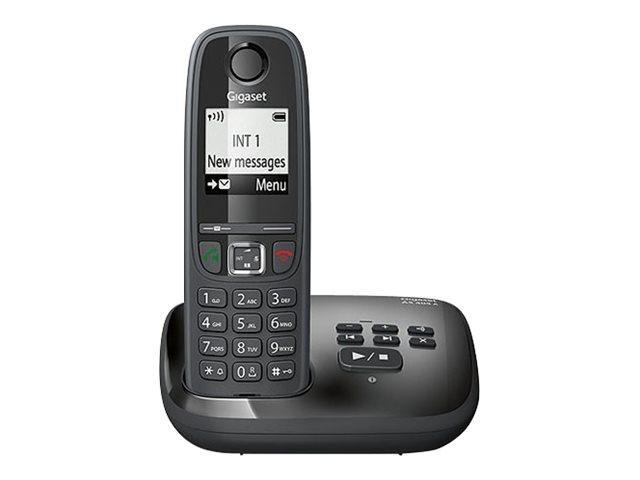 Gigaset AS405A – Telefono cordless – sistema di segreteria con ID chiamante – DECTGAP – nero [ TT227318 ]