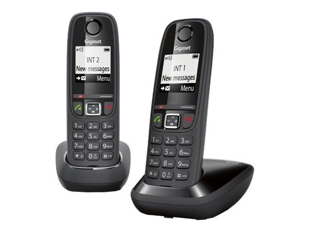 Gigaset AS405 Duo – Telefono cordless con ID chiamante – DECTGAP – nero + ricevitore aggiuntivo [ TT227310 ]
