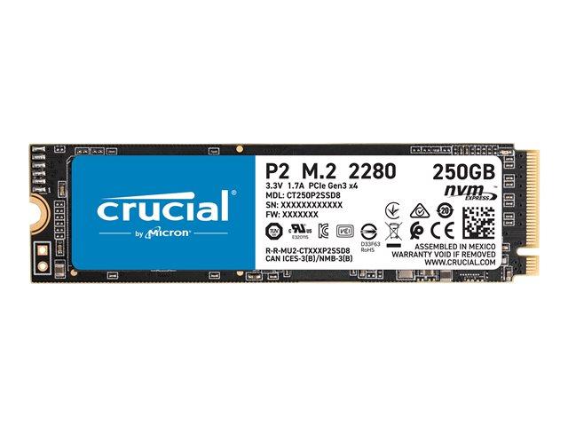 Crucial P2 – SSD – 250 GB – interno – M.2 2280 – PCI Express 3.0 x4 (NVMe) [ TT801785 ]
