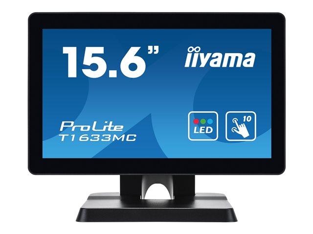 iiyama ProLite T1633MC-B1 – Monitor a LED – 15.6″ – touchscreen – 1366 x 768 – TN – 300 cd/m² – 500:1 – 8 ms – HDMI, VGA, DisplayPort – nero, opaco [ TT800680 ]