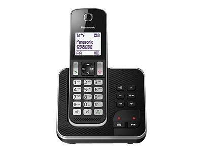Panasonic KX-TGD320 – Telefono cordless – sistema di segreteria con ID chiamante/chiamata in attesa – DECTGAP – nero, argento [ TT227173 ]