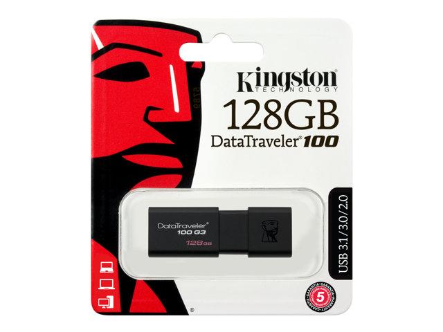 Kingston DataTraveler 100 G3 – Chiavetta USB – 128 GB – USB 3.0 – nero [ TT153083 ]