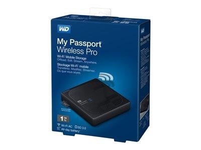 WD My Passport Wireless Pro WDBVPL0010BBK – Unità di rete – 1 TB – HDD 1 TB x 1 – USB 3.0 / 802.11ac [ TT224588 ]
