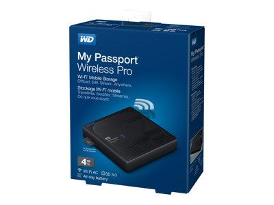 WD My Passport Wireless Pro WDBSMT0040BBK – Unità di rete – 4 TB – HDD 4 TB x 1 – USB 3.0 / 802.11ac [ TT224587 ]