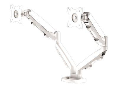 Fellowes – Montaggio a scrivania per 2 monitor (doppi bracci regolabili) – metallo – bianco, RAL 9016 – dimensione schermo: 10″-39″ – installabile con morsetto, rondella [ TT807849 ]