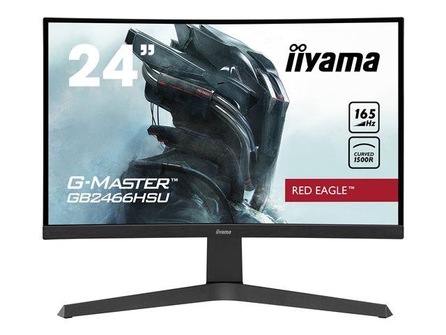 iiyama G-MASTER Red Eagle GB2466HSU-B1 – Monitor a LED – curvato – 24″ (23.6″ visualizzabile) – 1920 x 1080 Full HD (1080p) @ 165 Hz – VA – 250 cd/m² – 3000:1 – 1 ms – 2xHDMI, DisplayPort – altoparlanti – nero opaco [ TT808220 ]